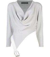 proenza schouler belted cowl neck top - grey
