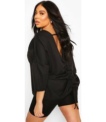 plus ruched back oversized sweat top, black