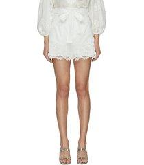 lulu' embroidered scallop hem shorts