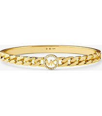 mk bracciale rigido con maglie a catena in argento sterling placcato oro 14k con logo e pavé - oro (oro) - michael kors