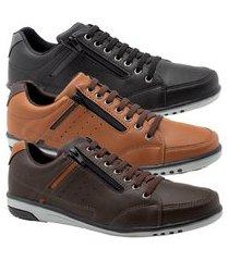 kit 3 sapatênis masculino casual preto, conhaque e café elástico e zíper 750