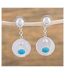 turquoise dangle earrings, 'reflection pool' (mexico)