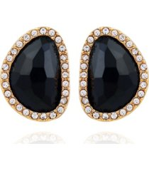 t tahari women's jet button stud earring