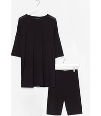 womens all get together tee and biker shorts set - black