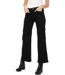 pantalón ellus tito alto cargo negro - calce holgado