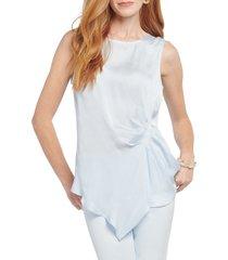 petite women's nic + zoe destination drape tank top, size medium p - blue