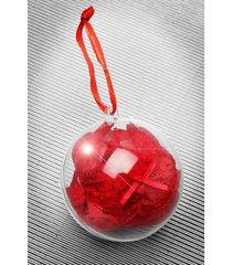 kerstbal met kanten string, red
