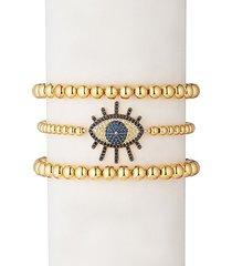 luxe sunset eye 3-piece 18k goldplated beaded bracelet set