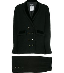 chanel pre-owned narrow double breasted skirt suit - black