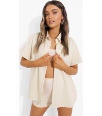 oversized badstoffen blouse, light stone