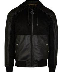 river island mens black suedette pu fabric block jacket