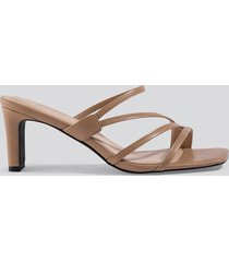 na-kd shoes squared strappy sandals - beige