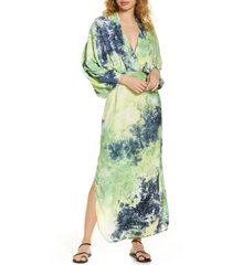 women's s/w/f sunset long sleeve dip dye maxi dress, size x-small - blue/green