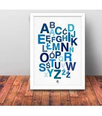 alfabet polski plakat 50 x 70 cm niebieski