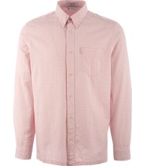 ben sherman long sleeve mini house gingham shirt - pink 0055260