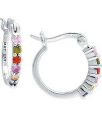"giani bernini rainbow cubic zirconia small hoop earrings in sterling silver, 0.59"", created for macy's"