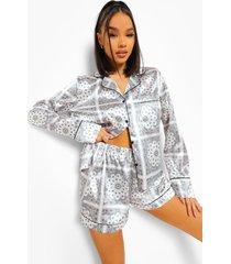 satijnen bandana print pyjama set met shorts, white