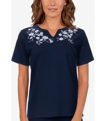 alfred dunner petite savannah embroidered top