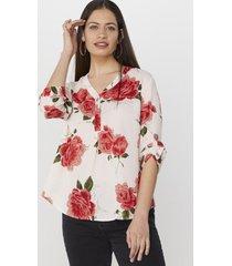 blusa cuello v pliegue rosa print corona