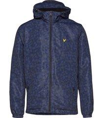 geo print zip through hooded jacket tunn jacka blå lyle & scott