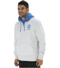 blusão de moletom da seleção brasileira hoodie crest com capuz nike - masculino - cinza cla/azul