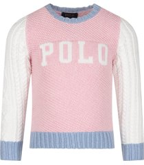 ralph lauren pink, white and light blue sweater for girl with logo
