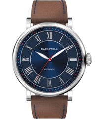 blackwell sunray blue dial with silver tone steel and brown leather watch 44 mm