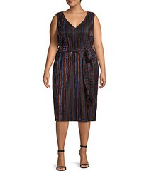 plus metallic striped knee-length dress