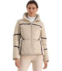 gewatteerde jas amy vermont beige::zwart