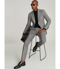 reiss denzil - puppytooth check slim fit trousers in grey, mens, size 38