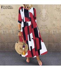 zanzea mujeres vintage retro bohemio impreso largo maxi kaftan vestido floral para damas -rojo