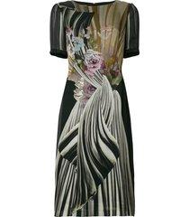 alberta ferretti floral fitted midi dress - black