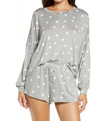 women's honeydew intimates all american long sleeve shortie pajamas, size medium - grey