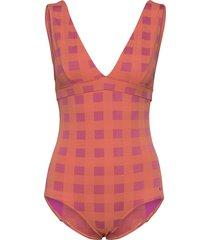 check v-neck swimsuit baddräkt badkläder rosa bobo choses