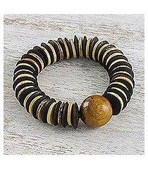 coconut shell beaded bracelet, 'mocha coco' (thailand)