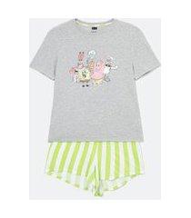pijama curto em viscolycra estampa bob esponja e amigos | bob esponja | cinza | g