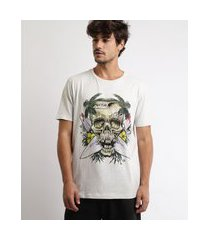 camiseta masculina caveiras manga curta gola careca off white