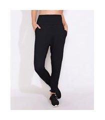 calça feminina esportiva ace yoga jogger com bolsos preta