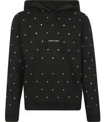 saint laurent perforated logo hoodie