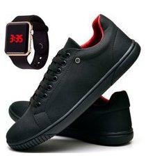 kit tênis sapatênis casual fashion com relógio led casual dubuy 940el preto