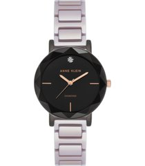 anne klein women's diamond-accent ceramic lavender bracelet watch 32mm