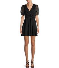 french connection women's sam faux-wrap dress - black - size 6