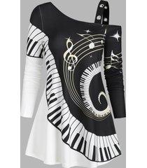 swirl piano pattern open shoulder grommet casual t shirt