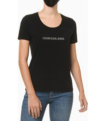 blusa feminina slim logo centralizado preta calvin klein jeans - pp