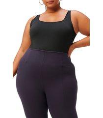 women's good american square neck thong bodysuit, size 4 - black