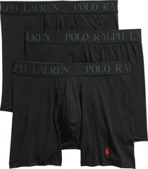 men's polo ralph lauren 4d 3-pack cotton & modal boxer briefs, size x-large - black
