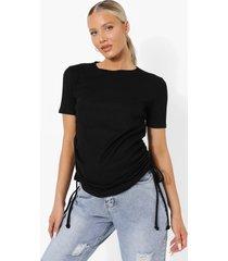 zwangerschap geribbeld geplooid t-shirt, black