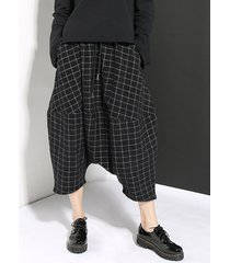 donna neri harem pantaloni di plaid con lacci in vita elastica