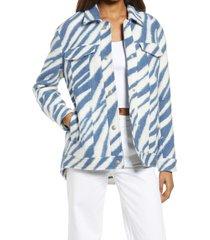 women's allsaints faye zebra stripe wool blend jacket, size 00 us - white