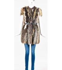 prada runway fox fur belted coat cream/brown sz: xs